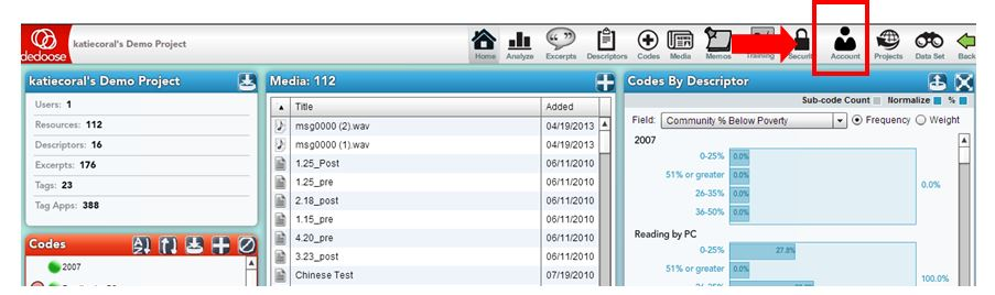 Account Workspace Screenshot