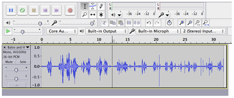 Screen capture of selected audio in Audacity