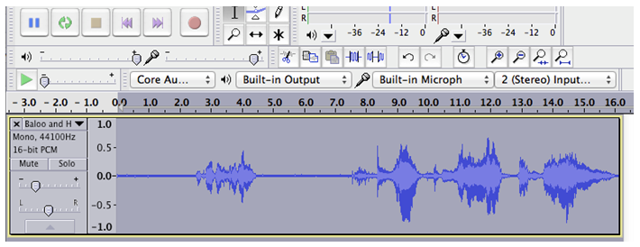 Audio that has been selected in Audacity
