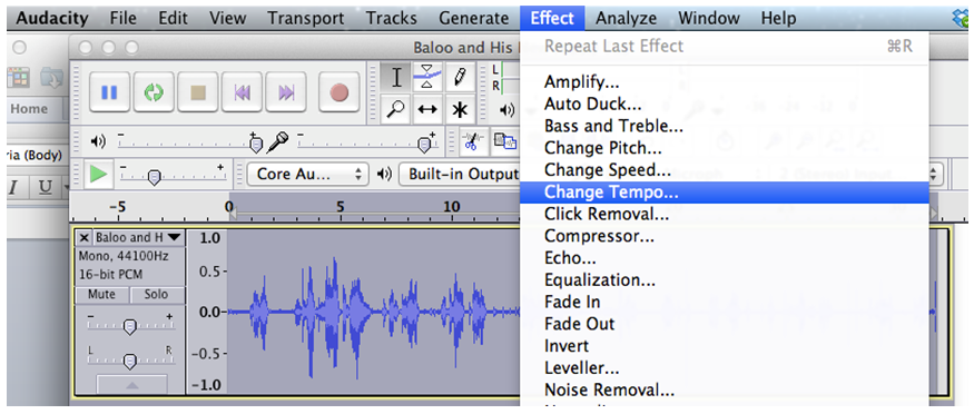 "Selecting ""Change Tempo"" in Audacity"