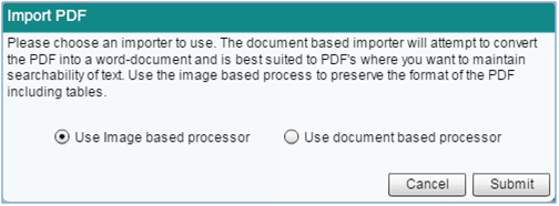 Screenshot of new PDF Import Option
