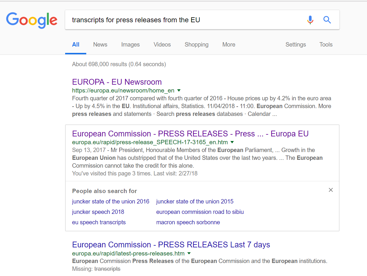 "Google ""transcripts for press releases from the EU"""