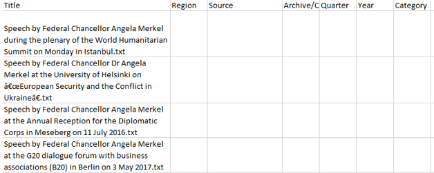 Fill Table Title Columns