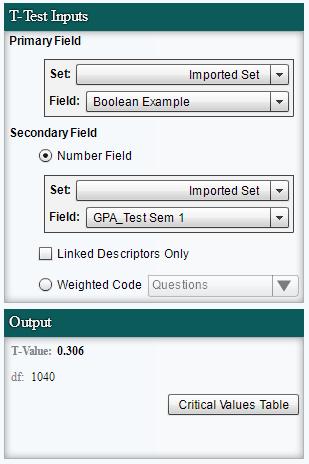 T-Test Input Controls
