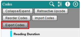 Export Codes Popup